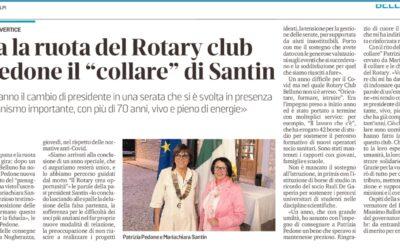 """Gira la ruota del Rotary Club. A Pedone il """"collare"""" di Santin"""