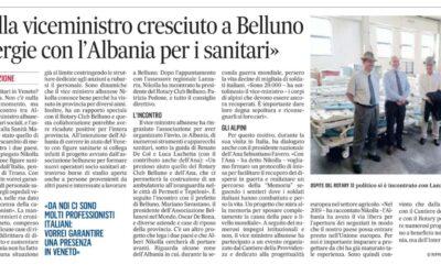 Nikolla viceministro cresciuto a Belluno. «Sinergie con l'Albania per i sanitari»